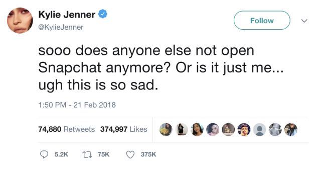The tweet from Kylie Jenner that began Snapchat parent company SNAP's precipitous decline.