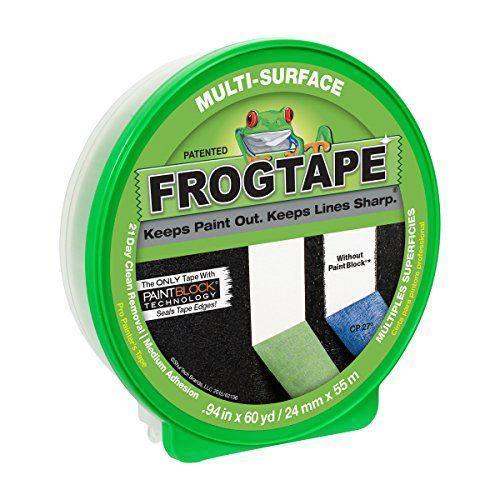 """<p><strong>Frogtape</strong></p><p>amazon.com</p><p><strong>$6.98</strong></p><p><a href=""""https://www.amazon.com/dp/B002Z8HB2A?tag=syn-yahoo-20&ascsubtag=%5Bartid%7C10055.g.34980843%5Bsrc%7Cyahoo-us"""" rel=""""nofollow noopener"""" target=""""_blank"""" data-ylk=""""slk:Shop Now"""" class=""""link rapid-noclick-resp"""">Shop Now</a></p><p>For harder surfaces, you'll need a tape with enough adhesive that it'll stay put, but not too much adhesive that it'll tear off bits of your wall during removal. <strong>Frogtape Multi-Surface finds that middle ground to work on cured paint, unfinished wood, metal, glass, stone and carpet.</strong></p><p>While this tape was somewhat thick and sticky, making it harder to manipulate, in GHI tests, we found that to be an asset, allowing it to stick to more durable surfaces. It was still fairly easy to apply and remove, and it left behind crisp edges.</p><p>It can remain on surfaces for 21 days, giving you ample time to complete your project, however if you are working in direct sunlight, that timeframe reduces to just 7 days. The tape is available in 0.94, 1.41 and 1.88 inch widths.</p>"""