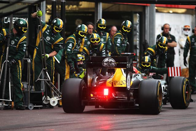 MONTE CARLO, MONACO - MAY 27: Heikki Kovalainen of Finland and Caterham drives in for a pitstop during the Monaco Formula One Grand Prix at the Circuit de Monaco on May 27, 2012 in Monte Carlo, Monaco. (Photo by Mark Thompson/Getty Images)