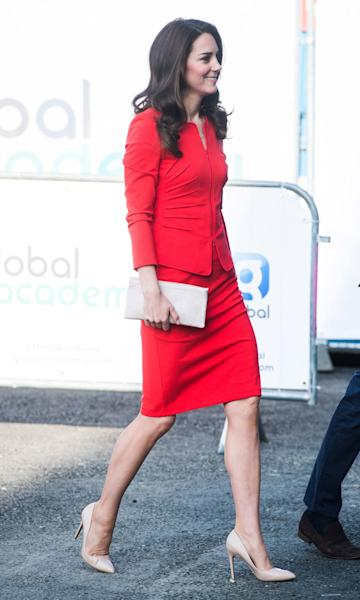 The Duchess debuts a new suit in what is fast becoming her signature shade.