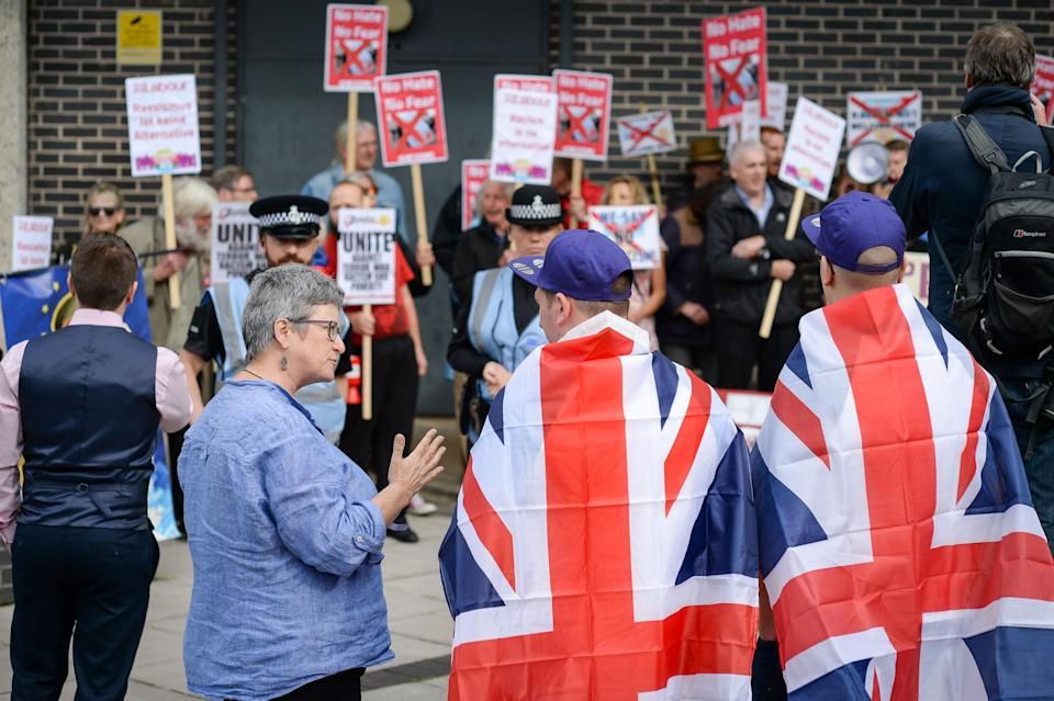 UKIP supporters and protesters outside the UKIP National Conference at the Riviera International Centre in Torquay (PA Images)