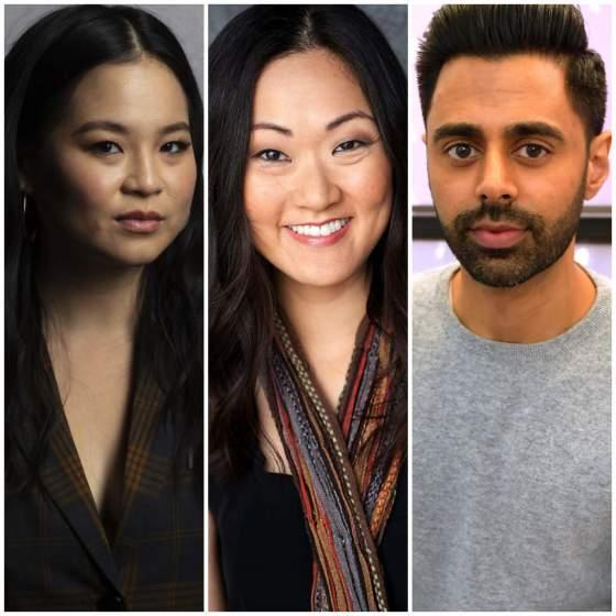 A photo triptych of Kelly Marie Tran, Jully Lee and Hasan Minhaj.