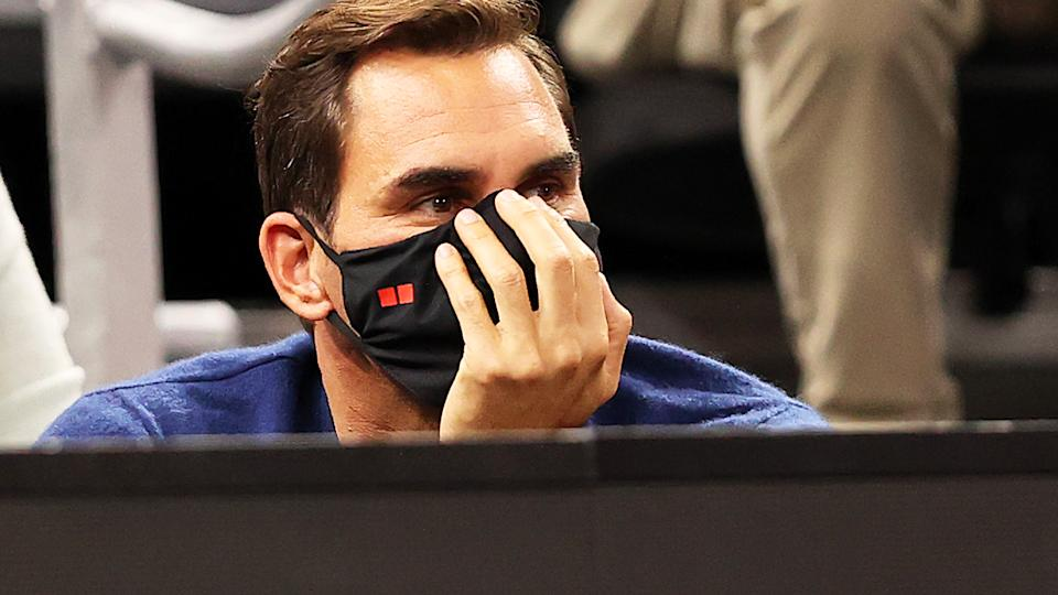 Roger Federer, pictured here watching the action at the Laver Cup at TD Garden.