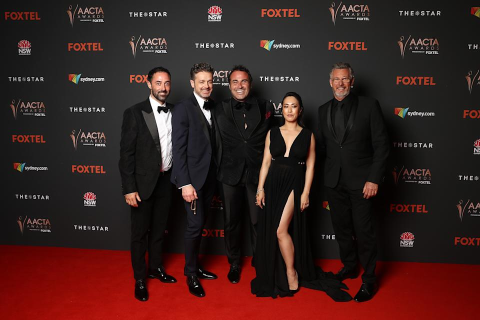 Andy Allen, Jock Zonfrillo, Miguel Maestre, Melissa Leong and Barry du Bois arrive ahead of the 2020 AACTA Awards presented by Foxtel at The Star on November 30, 2020 in Sydney, Australia.