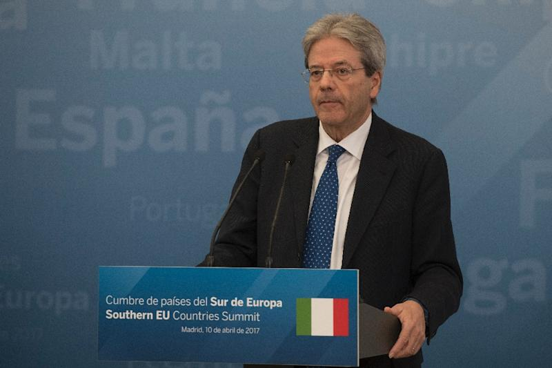 Italian Prime Minister Paolo Gentiloni speaks during a press conference on April 10, 2017 at the Palacio del Pardo, near the Spanish capital Madrid, following a summit of southern European Union countries