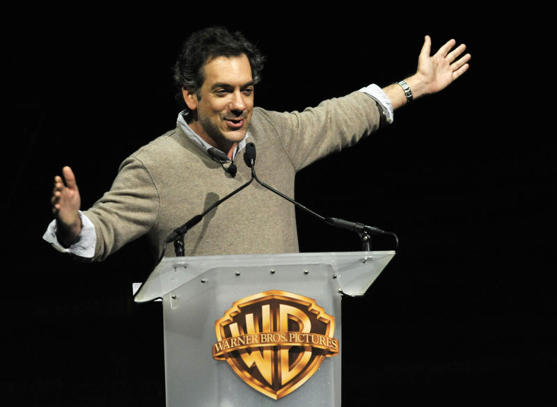 "Todd Phillips, director of the forthcoming film ""The Hangover Part III,"" addresses the audience during the Warner Bros. presentation at CinemaCon 2013 at Caesars Palace on Tuesday, April 16, 2013 in Las Vegas. (Photo by Chris Pizzello/Invision/AP)"