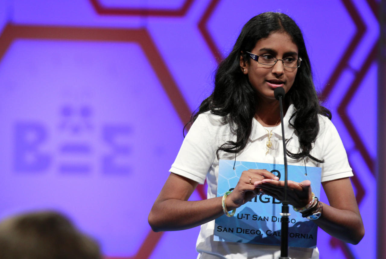 Snigdha Nandipati, 14, of San Diego, Calif., spells a word during the finals of the National Spelling Bee Thursday, May 31, 2012 in Oxon Hill, Md. (AP Photo/Alex Brandon)