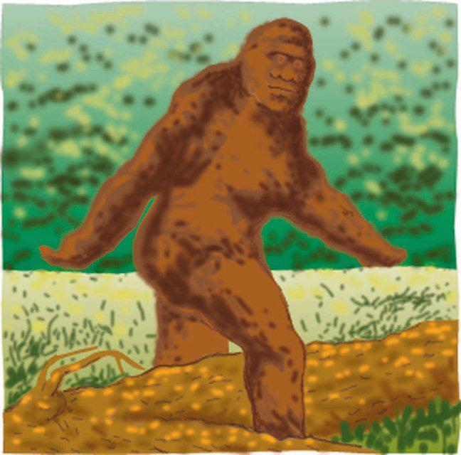 Tom Close color illustration of sasquatch from 1997. (The Detroit Free Press/MCT via Getty Images).