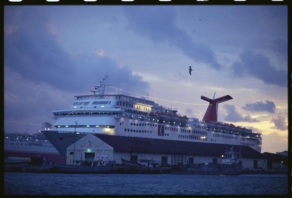 Carnival cruise ship Fantasy docked in Nassau, Bahamas. (Photo: Steve Starr/Corbis via Getty Images)
