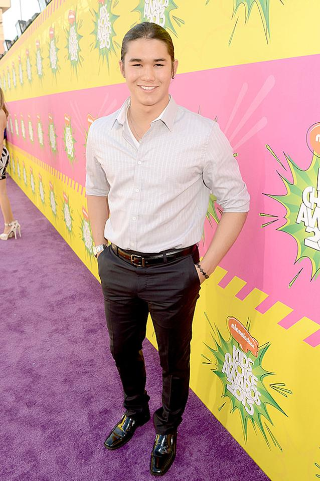 """Twilight's"" Booboo Stewart, 19, looked cute as can be in a pair of dress slacks, button-down shirt, and shiny patent leather shoes."