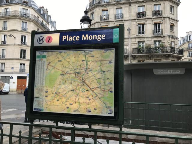 The metro stop in Paris that takes you directly to the Marché Monge farmers market. (Photo: Alexandra Mondalek)