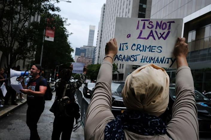 """<div class=""""inline-image__caption""""><p>Anti-vaccination protesters outside of New York-Presbyterian Hospital on Sept.1 2021, in New York City.</p></div> <div class=""""inline-image__credit"""">Photo by Spencer Platt/Getty Images</div>"""