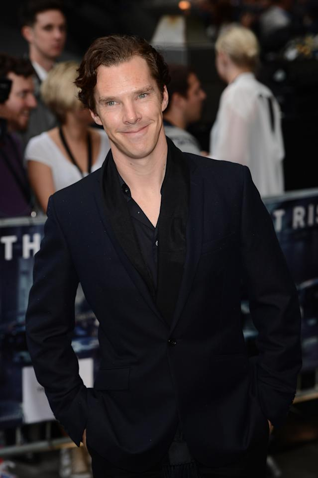 """LONDON, ENGLAND - JULY 18:  Benedict Cumberbatch  attends European premiere of """"The Dark Knight Rises"""" at Odeon Leicester Square on July 18, 2012 in London, England.  (Photo by Ian Gavan/Getty Images)"""
