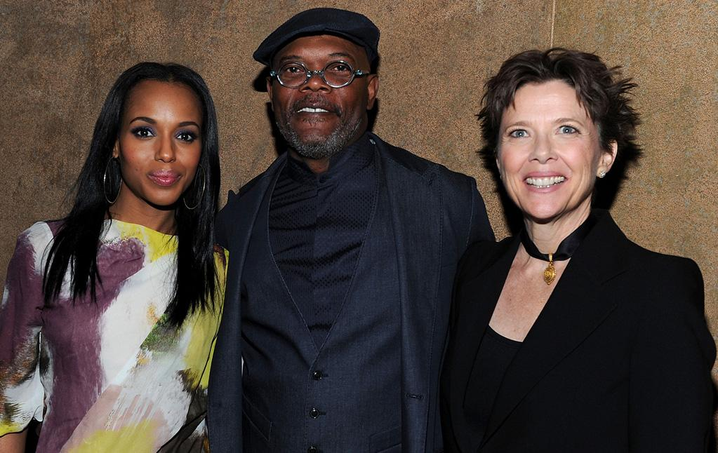 """<a href=""""http://movies.yahoo.com/movie/contributor/1800354354"""">Kerry Washington</a>, <a href=""""http://movies.yahoo.com/movie/contributor/1800018848"""">Samuel L. Jackson</a> and <a href=""""http://movies.yahoo.com/movie/contributor/1800018624"""">Annette Bening</a> at the Los Angeles premiere of <a href=""""http://movies.yahoo.com/movie/1810088527/info"""">Mother and Child</a> - 04/19/2010"""