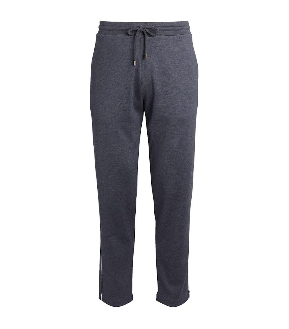 """<p>Canali has nailed sophistication-meets-athleisure with this pair of sumptuous cotton and silk blend sweatpants. A perfect pairing with a classic T-shirt or a matching hoodie, days spent relaxing in bed or in the living-room have never felt so good.</p><p>£150, <a href=""""https://www.harrods.com/en-gb/shopping/canali-cotton-silk-sweatpants-16260734"""" rel=""""nofollow noopener"""" target=""""_blank"""" data-ylk=""""slk:Canali"""" class=""""link rapid-noclick-resp"""">Canali</a>.</p>"""