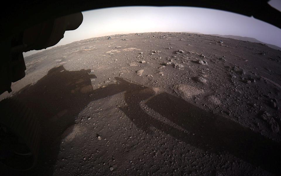 The rover's first colour image from the surface of Mars - REUTERS