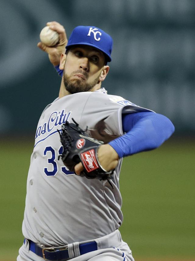 Kansas City Royals starting pitcher James Shields delivers against the Cleveland Indians in the first inning of a baseball game Tuesday, April 22, 2014, in Cleveland. (AP Photo/Mark Duncan)