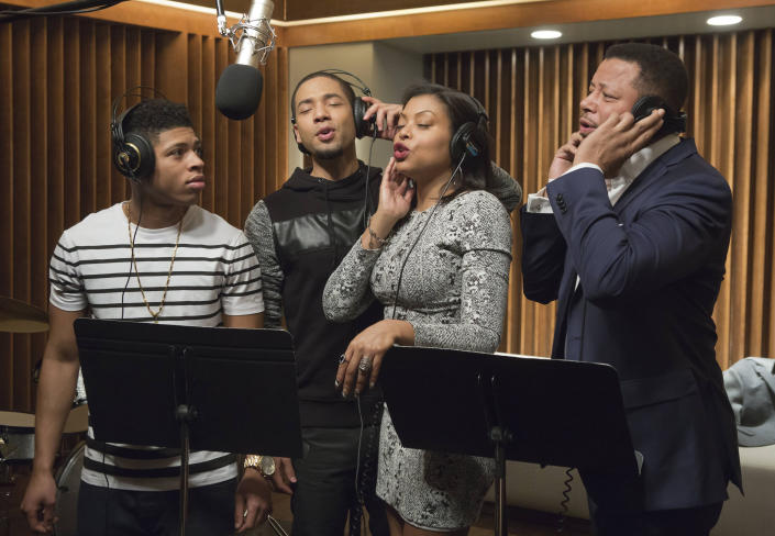 """In this image released by Fox, Bryshere Gray, from left, Jussie Smollett, Taraji P. Henson and Terrence Howard appear in a scene from """"Empire."""" Smollett, who alleges he was the victim of a brutal racial and homophobic attack, is a former child star who grew up to become a champion of LGBT rights and one of the few actors to play a black gay character on primetime TV. His breakthrough came aboard the hip-hop drama """"Empire,"""" playing Jamal Lyon, a talented R&B singer struggling to earn his father's approval and find his place in his dad's music empire. It became one of the biggest network shows to star a gay black character. (Chuck Hodes/FOX via AP)"""