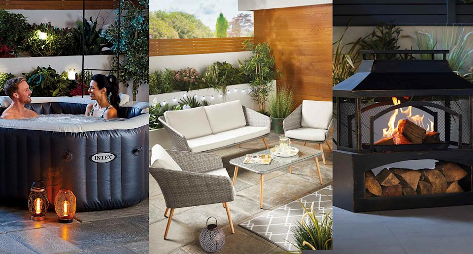 Yahoo UK readers have been shopping for garden buys, including outdoor furniture, fire pits, BBQs, and much more. (Aldi)