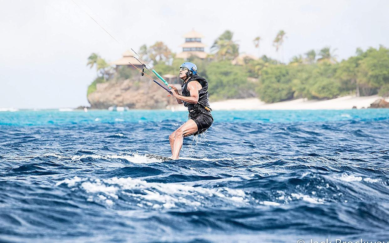 <span>Former President of the United States Barack Obama learning to kitesurf on the British Virgin Islands after he finished his second term as President, February 2017</span> <span>Credit: PA </span>