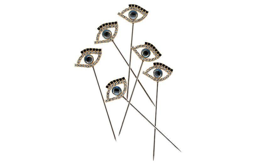 "<br> <br> <strong>Joanna Buchanan</strong> S/6 Evil Eye Cocktail Picks, Silver/Blue, $, available at <a href=""https://go.skimresources.com/?id=30283X879131&url=https%3A%2F%2Fwww.onekingslane.com%2Fp%2F4783588-s-6-evil-eye-cocktail-picks-silver-blue.do"" rel=""nofollow noopener"" target=""_blank"" data-ylk=""slk:One Kings Lane"" class=""link rapid-noclick-resp"">One Kings Lane</a>"