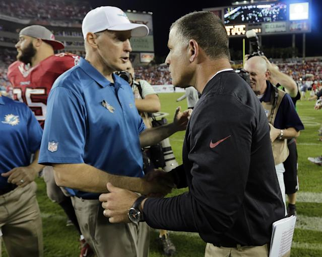 Tampa Bay Buccaneers head coach Greg Schiano, right, shakes hands with Miami Dolphins head coach Joe Philbin after the Buccaneers defeated the Dolphins 22-19 during an NFL football game Monday, Nov. 11, 2013, in Tampa, Fla. (AP Photo/Chris O'Meara)