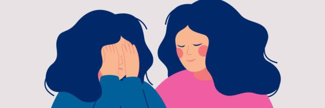 illustration of a woman comforting a friend