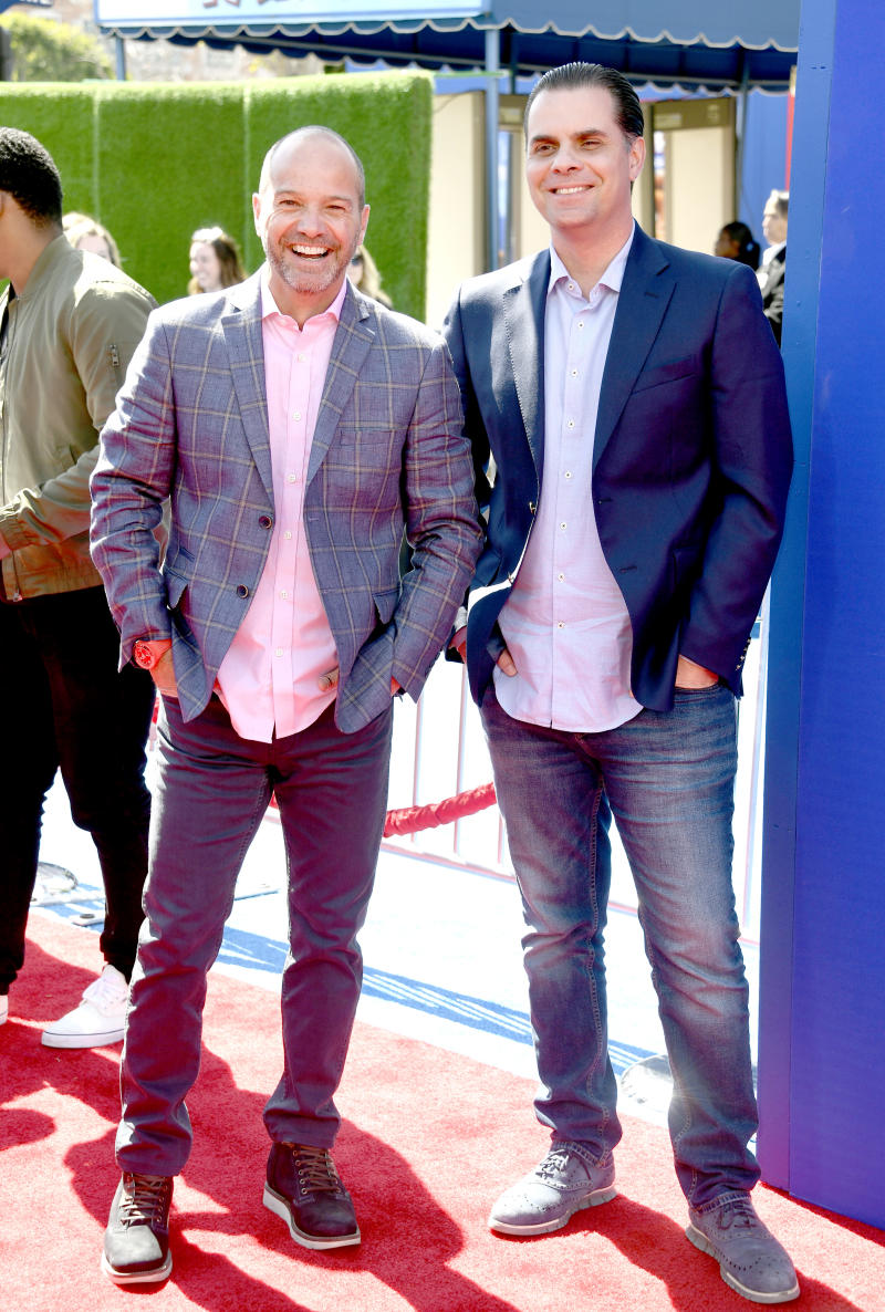 """LOS ANGELES, CALIFORNIA - MARCH 10: Luis Garcia and Christian Martinoli attend the premiere of Paramount Pictures' """"Wonder Park"""" at Regency Bruin Theatre on March 10, 2019 in Los Angeles, California. (Photo by Frazer Harrison/Getty Images)"""