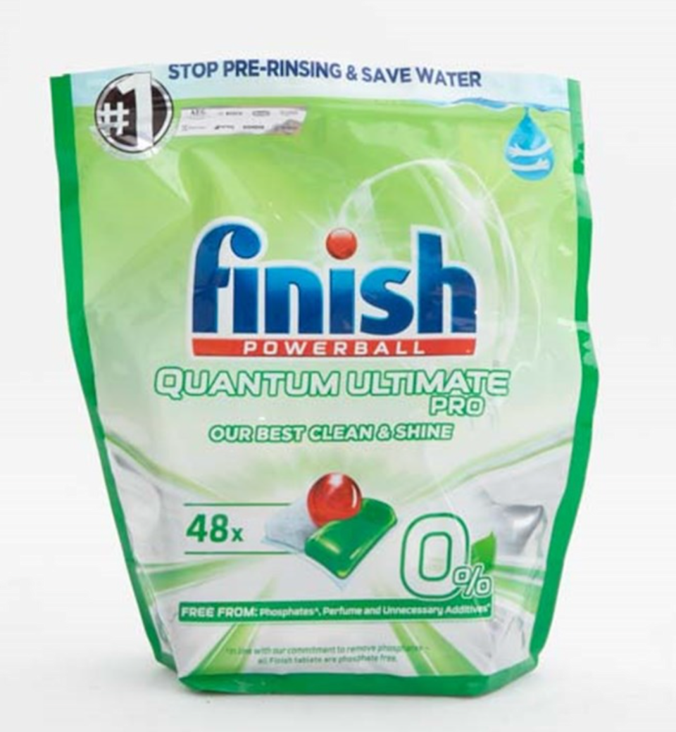 Another Finish product sharing the runner-up place, the 0% tabs are pricier than the Aldi winner but will still leave your dishes sparkly clean.