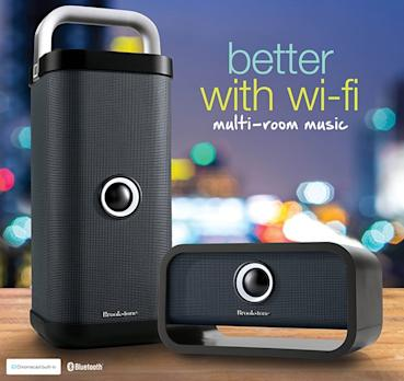 speakers with chromecast built in. brookstone launches big blue wi-fi speakers with chromecast built-in built in f