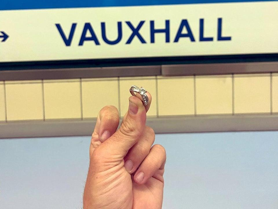 James Flude found an engagement ring on a platform in Vauxhall London Underground station and is searching for its rightful owner (James Flude)
