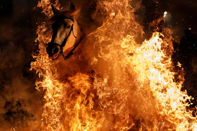 "<p>A man rides a horse through flames during the annual ""Luminarias"" celebration on the eve of Saint Anthony's day, Spain's patron saint of animals, in the village of San Bartolome de Pinares, northwest of Madrid, Spain, Jan. 16, 2018. (Photo: Juan Medina/Reuters) </p>"