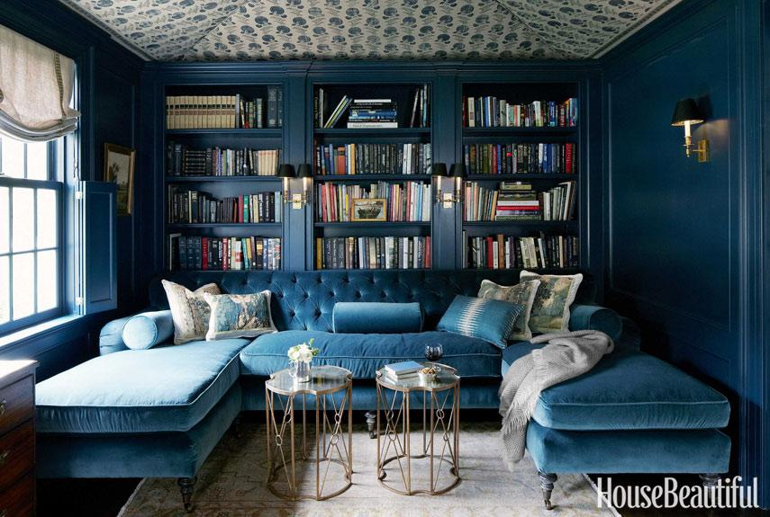 """<div class=""""caption-credit""""> Photo by: SIMON WATSON</div><div class=""""caption-title"""">Fabric</div><p>  """"Because the library is small, it lent itself to a rich jewel-box treatment,"""" designer Jeannette Whitson says about this Nashville house. Woodwork is painted a deep, saturated color, Farrow & Ball's Hague Blue, and the ceiling is tented with a Michael S. Smith Indian block fabric, Jasper. </p> <p>  <b>See more:</b> </p> <p>  <a rel=""""nofollow"""" href=""""http://www.housebeautiful.com/photos/global-interior-design?link=emb&dom=yah_life&src=syn&con=blog_housebeautiful&mag=hbu"""" target=""""""""><b>8 Spectacular Rooms from Around the World</b></a>  <br>  <a rel=""""nofollow"""" href=""""http://www.housebeautiful.com/photos/cool-floors?link=emb&dom=yah_life&src=syn&con=blog_housebeautiful&mag=hbu"""" target=""""""""><b>10 Bold Colored Floors That Wow</b></a> </p>"""
