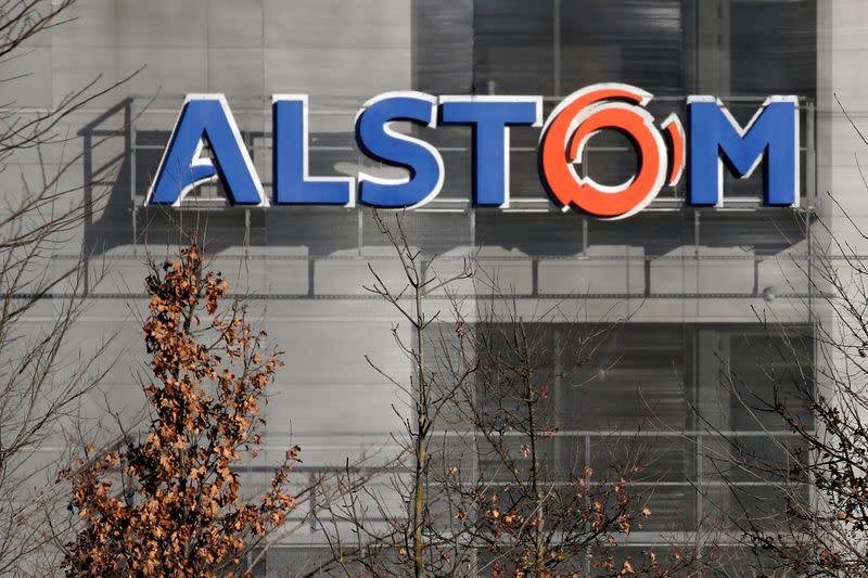 FILE PHOTO: A logo of Alstom is seen at the Alstom's plant in Semeac near Tarbes