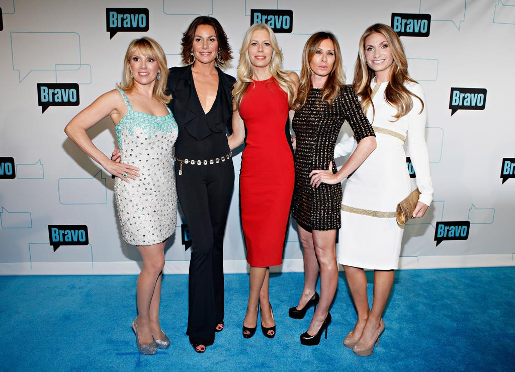 """<a href=""http://tv.yahoo.com/real-housewives-of-new-york-city/show/42212"">The Real Housewives of New York City</a>"" attend Bravo's 2012 Upfront Event at Center 548 on April 4, 2012 in New York City."