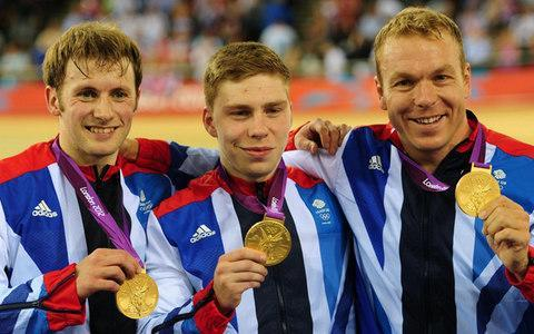 <span>Philip Hindes (centre) is flanked by Jason Kenny (left) and Sir Chris Hoy after the trio won team sprint at the London Olympics in 2012, the first of the Germany-born sprinters career</span> <span>Credit:  PA </span>
