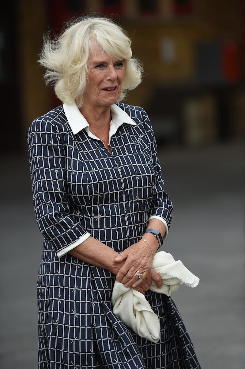 The Duchess of Cornwall meets firefighters, staff from Great Western Hospital and paramedics from South Western Ambulance Service during a visit to Swindon Fire Station in Wiltshire. PA Photo. Picture date: Monday July 6, 2020. See PA story ROYAL Camilla. Photo credit should read: Eddie Mulholland/The Daily Telegraph/PA Wire