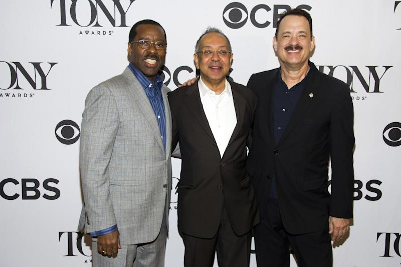 "Actor Courtney B. Vance, from left, director George C. Wolfe and Tom Hanks attend the 2013 Tony Awards Meet the Nominess press reception on Wednesday, May 1, 2013 in New York. Hanks was nominated for a Tony award for best leading actor in a play, Tuesday, for his role in ""Lucky Guy."" Vance earned a best featured actor nomination. (Photo by Charles Sykes/Invision/AP)"