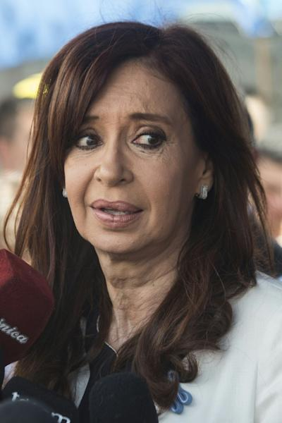 Argentina's former President Cristina Kirchner speaking to reporters as she leaves the court in Buenos Aires