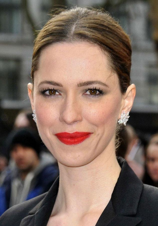 """Celebrities wearing red lipstick: <a href=""""http://uk.lifestyle.yahoo.com/side-boob-is-the-%E2%80%98biggest-bra-fashion-faux-pas%E2%80%99-101640856.html"""" data-ylk=""""slk:Rebecca Hall;outcm:mb_qualified_link;_E:mb_qualified_link;ct:story;"""" class=""""link rapid-noclick-resp yahoo-link"""">Rebecca Hall</a> completed her beauty look with a slick of matte red lipstick at the Iron Man 3 London premiere.<br><br>[Rex]"""