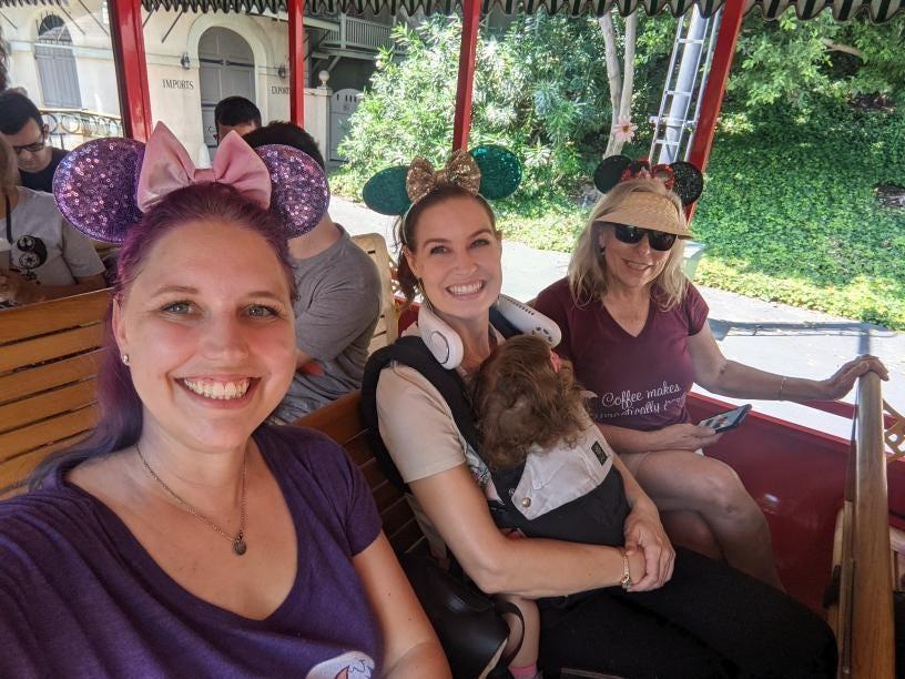 Rebecca Ohanian and her family ride the train at Disneyland on June 15, 2021.