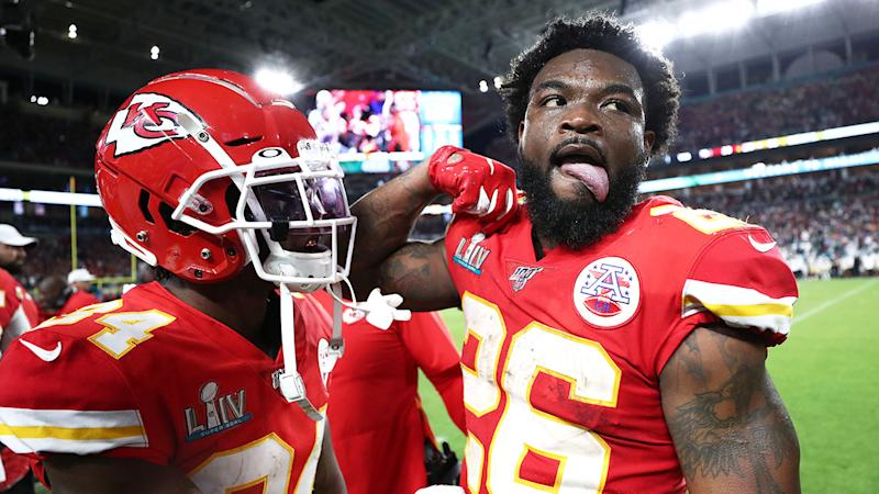 Seen here, Damien Williams revels in the Chiefs' epic Super Bowl comeback win.
