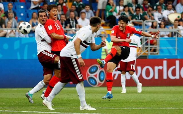 Soccer Football - World Cup - Group F - South Korea vs Mexico - Rostov Arena, Rostov-on-Don, Russia - June 23, 2018 South Korea's Son Heung-min scores their first goal REUTERS/Jason Cairnduff TPX IMAGES OF THE DAY
