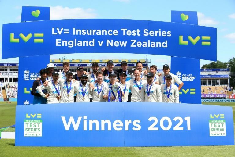Blackcaps delight - New Zealand celebrate their Test series win over England at Edgbaston on Sunday