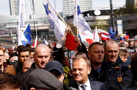 Donald Tusk, the President of the European Council walks with supporters in Warsaw, Poland April 19, 2017.   REUTERS/Kacper Pempel