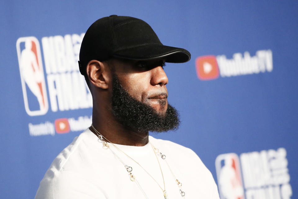 LeBron James stops and thinks. (Getty)