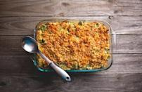 """<p>This easy broccoli casserole is full of butter, cheese and mayonnaise, so you almost forget it's loaded with green veggies. Use either fresh or frozen broccoli — both work well.</p> <p><a href=""""https://www.thedailymeal.com/best-recipes/easy-broccoli-casserole-recipe?referrer=yahoo&category=beauty_food&include_utm=1&utm_medium=referral&utm_source=yahoo&utm_campaign=feed"""" rel=""""nofollow noopener"""" target=""""_blank"""" data-ylk=""""slk:For the Broccoli Casserole recipe, click here."""" class=""""link rapid-noclick-resp"""">For the Broccoli Casserole recipe, click here.</a></p>"""