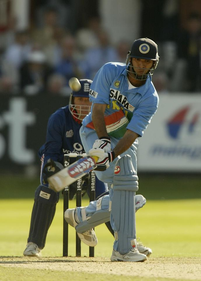 LONDON, ENGLAND - JULY 13:  Yuvraj Singh of India hits a boundery  during the match between England and India in the NatWest One Day Series Final at Lord's in London, England on July 13, 2002. (Photo by Clive Mason/Getty Images)