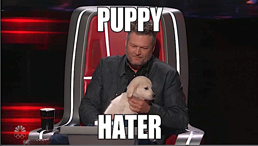 An infamous Blake Shelton moment from 'The Voice' comes back as a meme. (Photo: NBC)