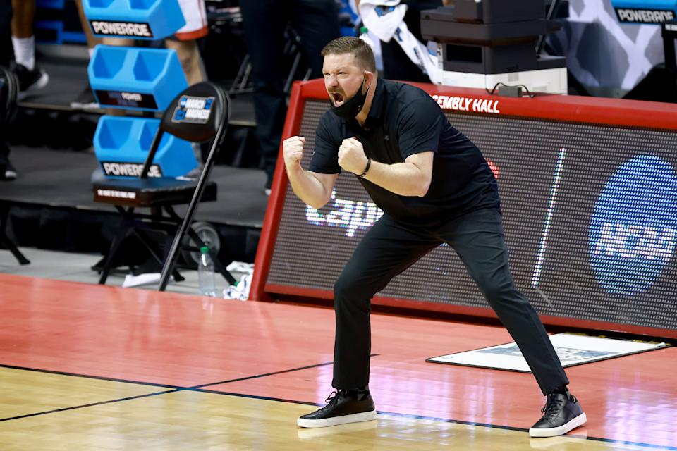 Chris Beard of the Texas Tech Red Raiders directs his team against Utah State in the first round of the 2021 NCAA tournament on March 19. (Grant Halverson/NCAA Photos via Getty Images)